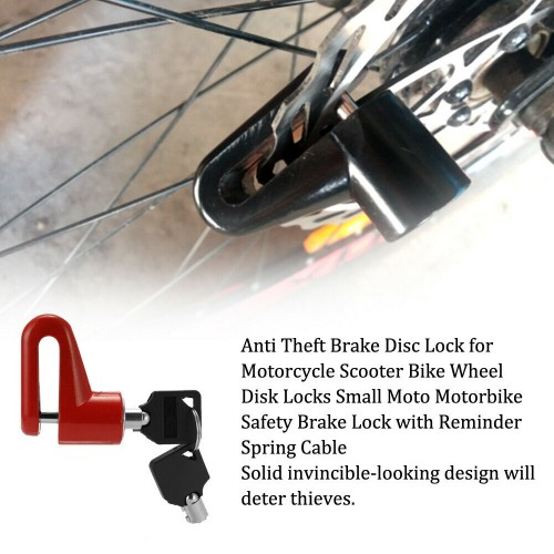 For Xiaomi Mijia M187 M365&Pro 2 Scooter Disc Brake Lock Anti-Theft Safety Lock Red
