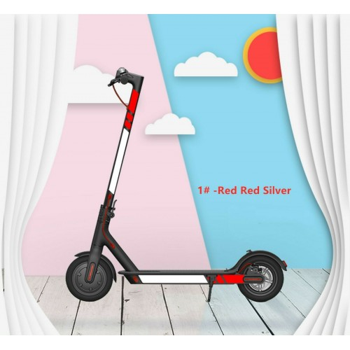 For Xiaomi M365/Pro/1S/Pro 2 Scooter Reflective Sticker Cover Set Accessories Red-red-silver