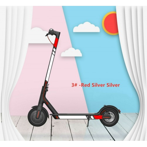 For Xiaomi M365/Pro/1S/Pro 2 Scooter Reflective Sticker Cover Set Accessories Red-silver-silver