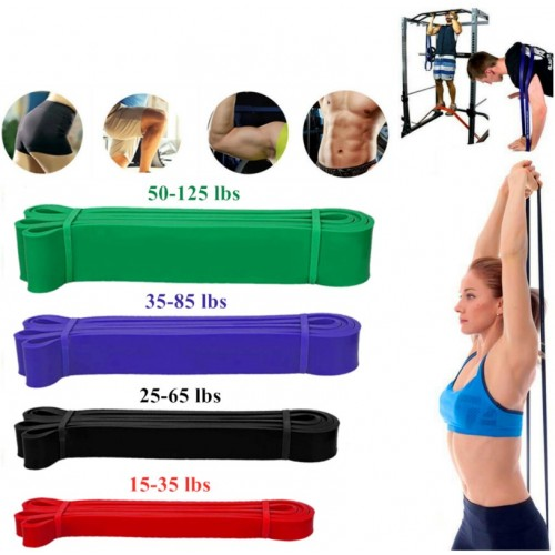 Heavy Duty Resistance Bands Home Gym Fitness Exercise Latex Set Loop Leg Pull Up Black (25 to 65 lbs)