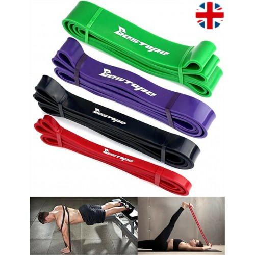 Heavy Duty Resistance Bands Home Gym Fitness Exercise Latex Set Loop Leg Pull Up Green (25 to 65 lbs)