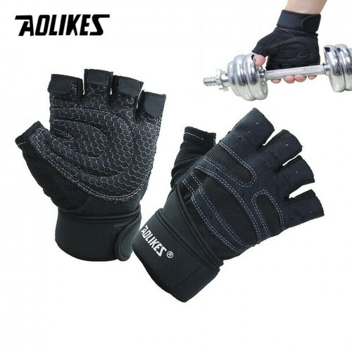 Half Finger Gloves Wrist Support Wrap Straps Weightlifting Cycling Sport Fitness XL Black